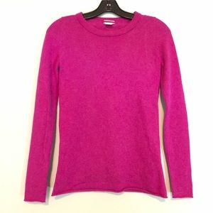 J.CREW CASHMERE LONG SLEEVE TEE IN MAGENTA SIZE XS